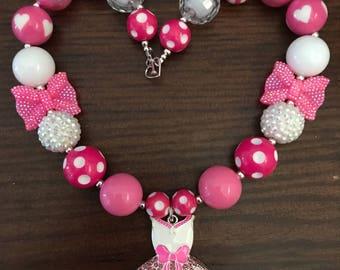 Shopkins inspired Ballet Dress Tutucute Bubble Gum Necklace (Child/Toddler).