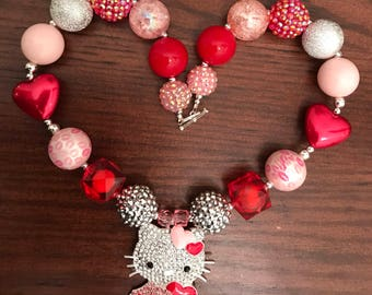 Hello Kitty with Hearts Bubble Gum Necklace Child)