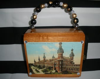 Tampa Bay Hotel Vintage Postcard Cigar Box Purse, Authentic, Fuente, Hemingway, Velvet Lined