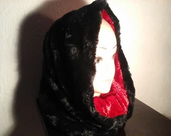 Reversible snood hooded faux fur for winter girl