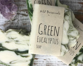 Green Eucalyptus Soap ,Organic, All Natural, Vegan, Handmade, Cold Process Soap, Wildflower Seed Paper, Men Skincare