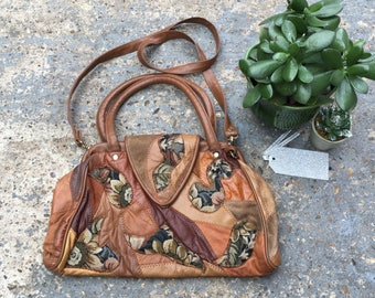 80s patchwork leather bag // slouchy patchwork shoulder bag // 1980s tan shouchy purse // trashy 80s purse // boho vintage bag // hobo bag