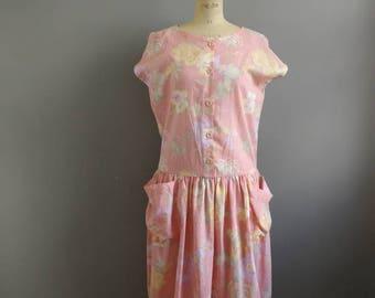 80s Pastel pink dress / dropped waist dress / batwing dress / vintage dress with pockets / peach dress / 80s summer dress / size 16