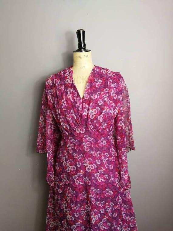 Floral floaty maxi dress / 70s boho sheer maxi dress with bell sleeves / bohemian vintage maxi dress / 70s festival  dress / hippie long