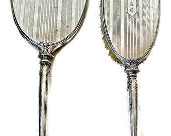 Webster Sterling Silver Dresser Set Art Deco Set Hair Brush and Mirror Set Monogram