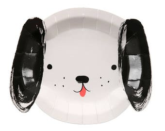 Dog Party Plates (Set of 12) - Meri Meri Black and White Puppy Paper Plates