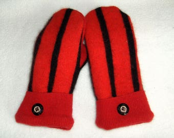 Ladies Upcycled Wool Mittens Bright Red with Black Stripe