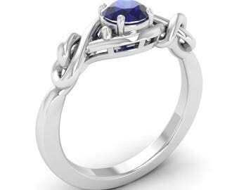 Natural Blue Sapphire Promise Ring In 14K White Gold | Solitaire Blue Sapphire Engagement Ring | Blue Sapphire Solitaire Engagement Ring