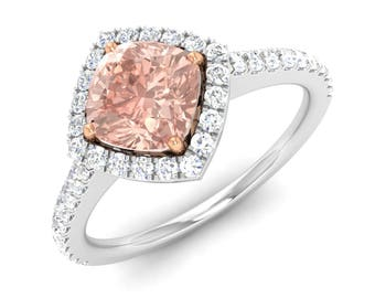 14K Gold Morganite Ring, Cushion Cut, Halo Ring, Morganite Engagement Ring, White Gold Diamond Ring, Wedding Ring, Anniversary Ring, Jewelry