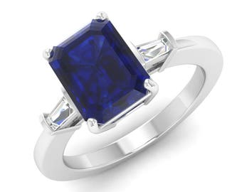 Emerald Cut, Blue Sapphire Engagement Ring, 14K White Gold, Anniversary Ring, Wedding Ring,Three Stone Ring, Natural Blue Sapphire Prong Set