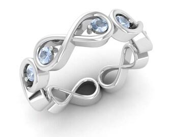 Aquamarine Ring, 14K White Gold, Gold Eternity Ring, Aquamarine Engagement Ring, Anniversary Ring, Wedding Ring, Infinity Ring, Promise Ring