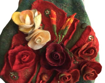 Red&yellow flowers handbag
