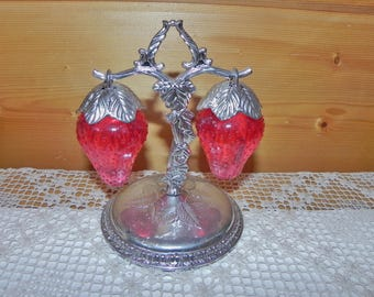 Red Strawberry Salt & Pepper Shakers with Tree Stand