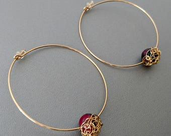 Stone and gold plated hoop earrings fine Green Jade. Crochet jewelry made in France. Gift for women 20-30 years