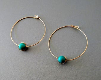 hoop earrings gold plated 14 k and Pierre Turquoise. Gift Valentine's day for women 20-30 years