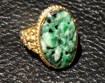 Art Deco Jade Ring 18K Gold Handmade Setting Hand Carved