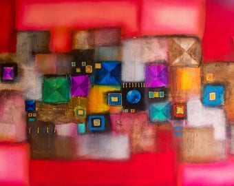 The Red Abstract Jewel- Original Acrylic Painting