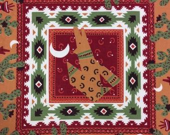 Vintage Southwestern Bandana 80's Handkerchief SW Print Made in USA RN 14193 Poly/Cotton