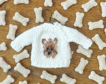 Yorkshire Terrier Hand-Knit Sweater Ornament  Yorkie Ornament  Cairn Terrier  Norwich Terrier