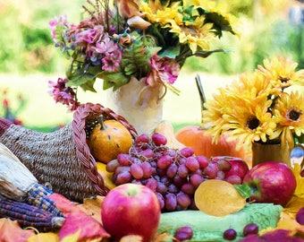 Vibrant Cornucopia Artisan Puzzle | Laser-Cut Wood | 20 x 10 inches | 200 pieces | Flowers, Fruits, Harvest