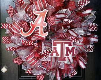 House Divided Mesh Wreath Alabama Crimson Tide Texas A&M Aggies College Football Team Initial Monogram Personalized Burlap Ribbon