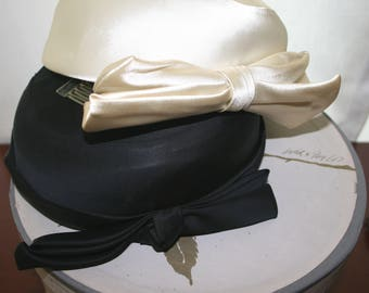 Pillbox Hat, Vintage Pillbox Hat, Lord & Taylor Hat, Two Pillbox Hats and Lord and Taylor Hat Box, Vintage Black Pillbox, White Pillbox