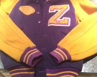 "Vintage ""Z"" Purple and Gold  All City 1949 Wool Letter Jacket"
