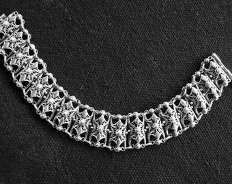 Wide Bracelet Sterling Silver 925 in Ethnic Style, Filigree jewelry, Armenian Handmade Jewelry, Gift for Her, Bracelet for women