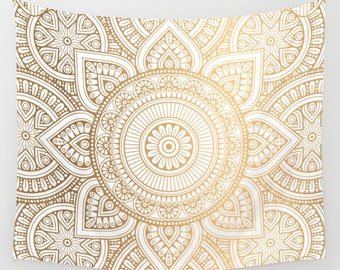 Gold Mandala Wall Tapestry, Bohemian Wall Tapestry, Mandala Curtain, Boho Wall Hanging, Gold Mandala Curtain, Bohemian Mandala Tapestry