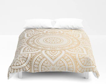 Gold Mandala Pattern Duvet Cover, Bed Cover, Bohemian Duvet Cover, Boho Bedding, Bedroom Decor, Gold Duvet, Decor Comforter, Mandala Duvet