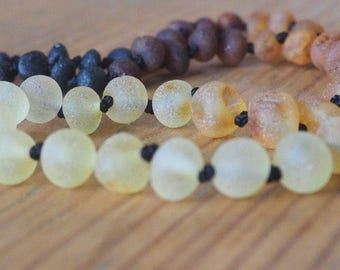 SET Baltic Amber Teething Necklace for Mother and  Baby unpolished multicolored beads rainbow pattern