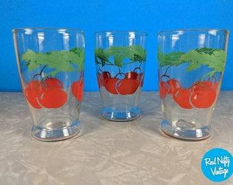 Vintage Tomato Juice Glasses Set of 3 - Retro Juice Glasses - 50's Kitchen - Set of Glasses