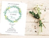 Australian inspired birthday Invitation //  21st Birthday Invite // 1st Birthday Invitation // eucalyptus // wattle // gum leaves