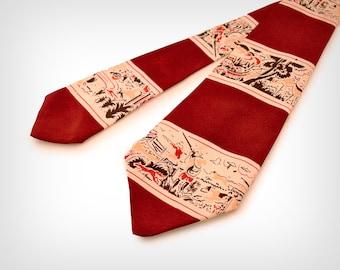 40s Tie // 1940s Hunting Scene Silk Tie // Vintage Men's Necktie