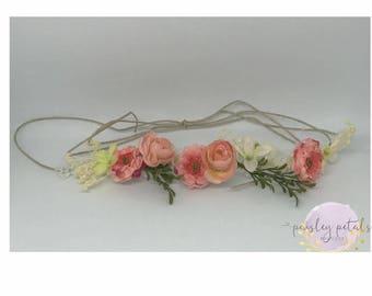 coral tie back- coral halo- neutral halo- wdw josie m2m- m2m wdw josie- vintage halo- floral crown- coral flower crown-