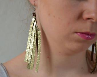Fringe earrings, Extra long earrings, leather earrings, Christmas gift, Metallic gold earrings, Bohemian earrings, statement earrings, boho