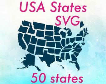 USA svg / 50 states svg / America svg / USA svg file /  USA states svg / us state svg