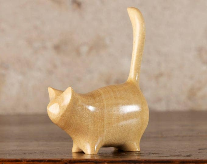 Featured listing image: Small Wooden Martha Carved From Lemonwood by Perry Lancaster, Yellow Cat, Cat Figurine, Cat Statue, Cat Sculpture