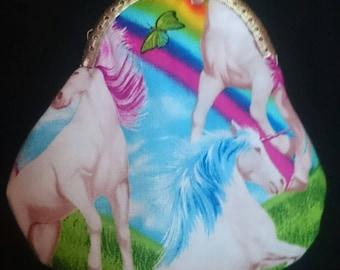 Hand made unicorn and rainbow print coin purse