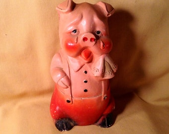 Antique Chalkware Piggy Bank Figurine - Crying Pig Statue Holding Kerchief - Old Coin Bank, Carnival Prize - Rustic Country Kitchen Decor