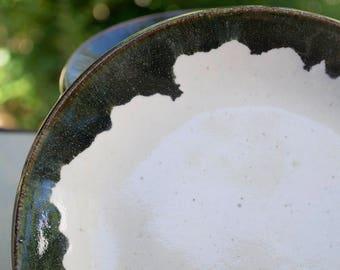 Black and White Ceramic Plates, High Fire Wheel Thrown Stoneware, Minimalist Pottery, Blue Lip Blend