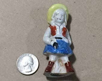 "Excellent 3"" Japan Ceramic Cowgirl Figurine"