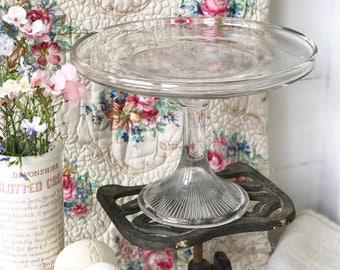 A beautiful Edwardian tall glass cake stand