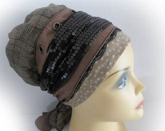Apron style Sinar (Large) headcover / mitpachat / tichel / snood