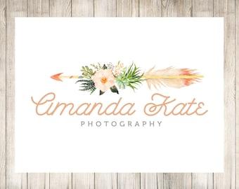 Flower Logo Design - Arrow Logo - Photography Logo - Premade Logo