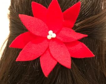 Christmas poinsettia hair barrette, holiday hair clip, Christmas accessory, poinsettia, winter flower, Christmas hair clip