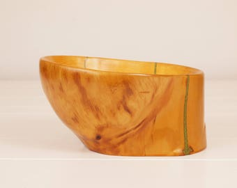 "Hand-Carved Wooden ""Belly"" Bowl"