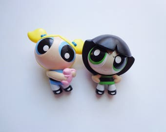 Mini PowerPuff Girls Toy Bubbles and Buttercup Kids Meal Novelty Cake Topper Decoration, Collectible Figures