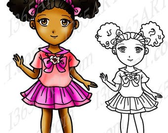 50% OFF African American girl clipart, black girl, Afro Puffs, Digital Stamp, clip art, Coloring Page, Manga, Cute School Girl, Anime Chibi