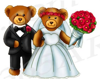 50% OFF Wedding Bears Clipart, Bride and Groom Clipart, Wedding Couple, Marriage, Scrapbooking, Invitations, PNG, Teddy, Commercial